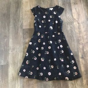 Maison Jules Navy Blue Embroidered Flower Dress